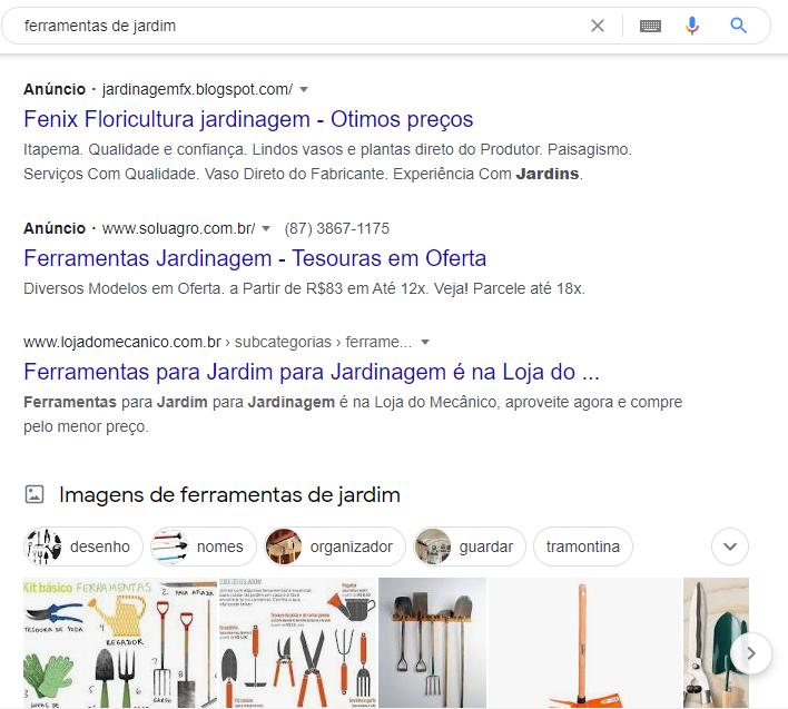 Marketing orgânico - pesquisa Google