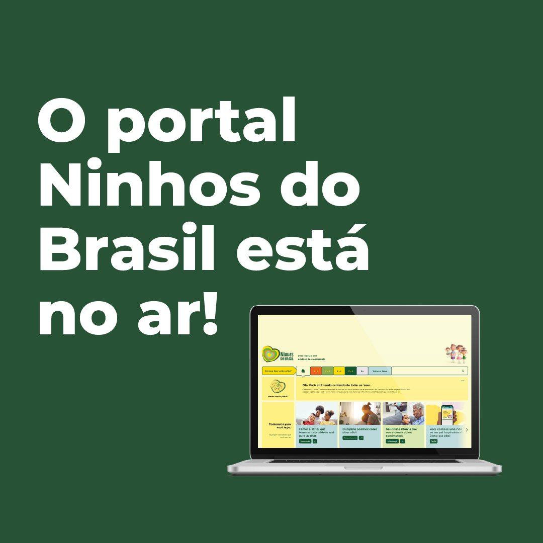 #PraCegoVer #PraTodesVerem: A foto mostra um notebook aberto, com sua tela mostrando o início do site Portal Ninhos do Brasil. O fundo é de cor verde e ao lado do notebook há o texto